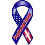 R/W/B/ Pray for Our Troops Ribbon Magnet