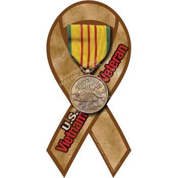 Gold Vietnam War Veteran Ribbon Magnet