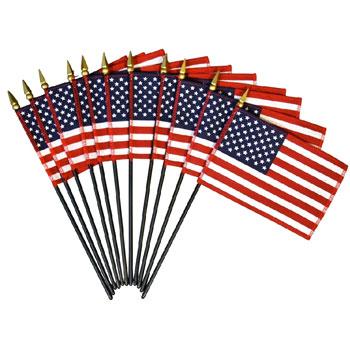 U.S. Cotton Mini Flags On Staff 4 x 6