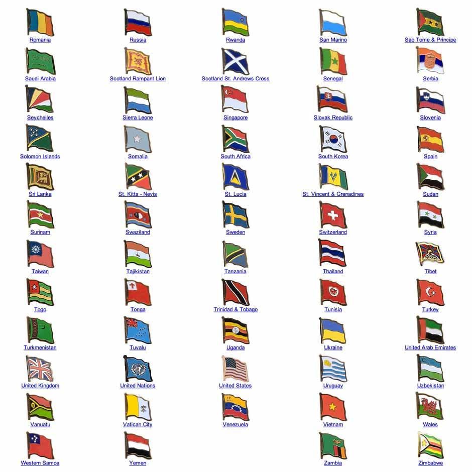 World Flag Assorted Lapel Pins R Z