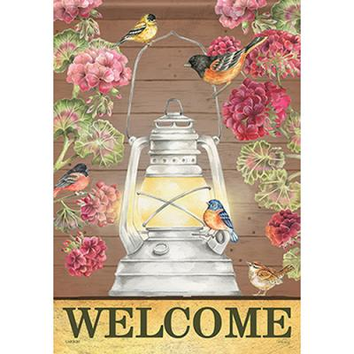 "Evening Light Cardinal Welcome Spring Garden Flag 2 Sided Birds Floral 12.5/""x18/"""