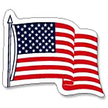 U.S. Wavy Flag Vinyl Decals -3 1/4 x 4