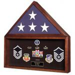 Flag Case With Memorabilia Display Case