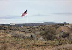 Elko flag flying in Nevada